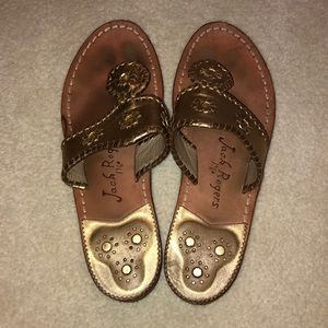 Gold jack Rodgers sandals
